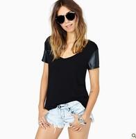 Hot Sale 2015 Fashion Brand Design PU leather Sleeve Patchwork Black Round Collar T shirt Women t-shirt T shirts .