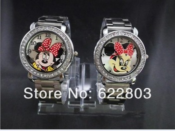free shipping Fashion cartoon MICKEY MOUSE MINNIE wristwatches girls Stainless steel crystal watch fashion table women watch