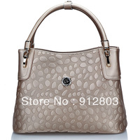 2013 Cowhide Stone Pattern Vintage Embossed Zipper GENUINE LEATHER Women's Quality Elegant Totes Handbag, Ladies Fashion Bags