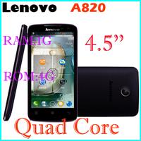 Original Lenovo A820 phone Russian Menu phone Quad core 1.2G CPU 4.5 inch IPS 4GB ROM 1GB RAM 8MP Camera