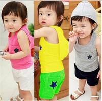 Retail 1Pc New2014 Summer Kids Clothes Sets Sports Girls Boy Short Sleeve Clothing Set Smiling Face Cartoon T Shirt+Pants CCC262