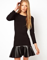 Freeshipping womens slim long sleeve dress with pu ruffles patchwork and zip decoration in back for wholesale and dropship D0005