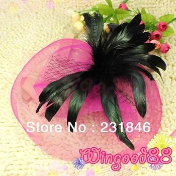1 Women Fancy Mini Top Hat Mesh Wedding Dance Party Cocktail Veil Black Feather Style Hairclip Fascinator Design Hair Clip