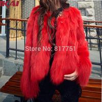 Women Fur Coat Genuine Waistcoat 2014 New Winter Autumn Red Fur Coats Girl Faux fur Jacket Beauty Short Fur Outerwear  TOP773
