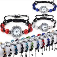 Watch shamballa quartz watch nylon bracelets wristwatch crystal disco ball beads