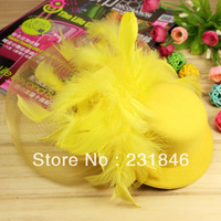 1Yellow Lady Women Cocktail Party Wedding Feather Design Mini Top Hat Veil Fascinator Girl Hair Clip Accessory Girl Xmas Gift