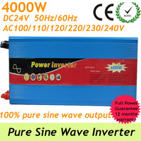 4000W Off grid Pure Sine Wave Inverter, power supply from DC24V To AC 90-140V or AC 220-240V solar/wind inverter with usb port