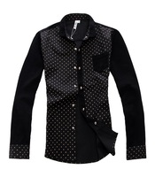 [Big Man] Free Shipping 2013 autumn winter new men's corduroy shirt long-sleeved shirt Polka Dot/size L-XXL