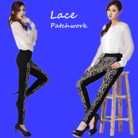 Women's  lace patchwork skinny long pants New 2014 Autumn Ladies High quality lace pattern elastic casual pencil pants,S-XL