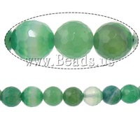 Free shipping!!!Natural Green Agate Beads,2013 Jewelry, Round, machine faceted & stripe, 10mm, Hole:Approx 2mm, Length:15 Inch