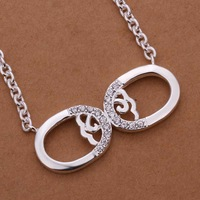 Free Shipping!Wholesale 925 Silver Necklace & Pendant,925 Silver Fashion Jewelry Inlaid Stone Marks Necklace SMTN285