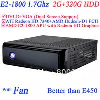 mini pc with blu ray support AMD E2-1800 APU CPU include SECC chassis 2G RAM 320G HDD ATI Radeon HD 7340 graphic Windows Linux