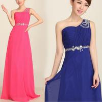 Vintage One Shoulder Wedding Party Dresses, Crystal Shoulder Chiffon Dress 3 Colors Free Shipping 44CLF01