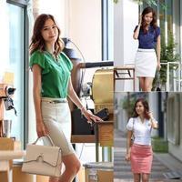 2014 Casual OL Tops Shirt Women V-neck Lotus Sleeve Chiffon Blouses Shirt Size M/L/XL Free Drop Shipping