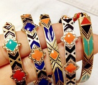2013 fashion bohemian tribal nepal tibetan colorful id enamel rope braid handmade knit bracelets bangles wholesale free shipping