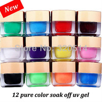 New 2013 Fashion 100% Good Quality 12pcs/set Mixed Pure Colors Soak off  UV Gel Set For Nail Tips DIY Builder Gel Free Shipping