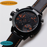 Military Watches Men With Leather Strap SPEATAK Brand Mens Multiple Time Zone Quartz Outdoor Watch Orange/Bule Color Band-60145G