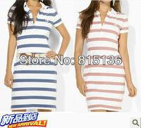 2013 New Fashion Women's Cotton Polo Dress Brand Design Striped Polo Dress Pink/blue Wholesale/Retail Y802788+FAST FREE SHIPPING