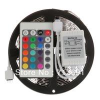Free shipping Non-waterproof 5M RGB 3528 LED Strip Light 60leds/m led strip lighting + Remote Control 24key + IR receiver