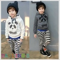 HOTSALE Retail 2-6yrs 1 set fashion baby children clothing sets Long sleeve panda t-shirts with striped Pants in stock