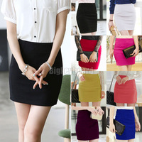 Hot Fashion Women Ladies Slim fit High Waist Cotton blends Bodycon Mini Work Office Skirt 8 Color sIZE XS S M L XL