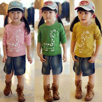 2013 New children outerwear Autumn fashion Children's clothng, Kids baby Giraffe girls boys Long Sleeve T shirt free shipping