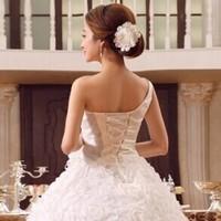 2014 new wedding one shoulder strap shoulder wedding dress bandage lacing slim princess wedding dress formal dress wedding dress