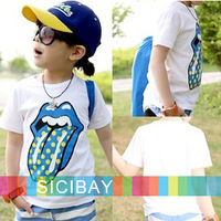 Free shipping Cheap Boy T Shirt  Kids Children Tops Summer Wear Short Sleeve Clothing  Sports T shirt Dot Big Tongue  K1013