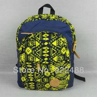Free shippingUnisex Geometry shape Dark Blue canvas Backpack Shoulder School Travle bag