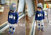 free shipping The 2013 Kids models fall stone scissors cloth sweater harem pants two-piece set children suit (1lot/5sets)