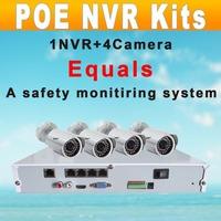 IPS NVR POE Kits Motion Detect 1pcs 4CH NVR 4pcs 720P Bulllets HD IP Megapixel Cameras Video Push P2P(IPS-Ki-K4POE)