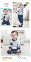 FREE SHIPPING Children, boys cross stripes bear suit cotton sports two piece suit