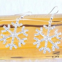 Fashion 2014 Brand Designed Rhinestone Snowflake Long Earrings Statement Accessories Jewelry For Women Free Shipping PD21