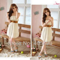 2014 New Women's Romantic Lace Strapless Chiffon Spring Dress