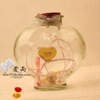 Transparent heart star glass bottle adrift bottle wishing bottle star tube bottle Large  high 11cm
