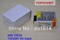 24W 12V2A AC/DC enclosed switching mode power supply, single output, CE/RoHS/FCC/IEC, 2-year warranty