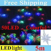 RGB LED String 50LED 5M Colorful Star Christmas/Wedding/Party Decoration String Lights Free Shipping
