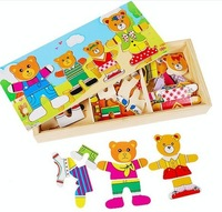 Wholesale Puzzle Game Funny Toy Colorful Educational Wooden Toy Bears Changing Cloths Christmas Gift YX293 Free shipping