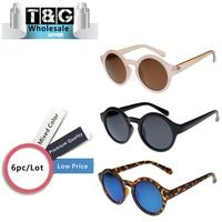 Wholesale Round Sunglasses Women Tortoise Coating Blue Film Sunglass Vintage Style Brand Designer Sun glasses Gafas De Sol
