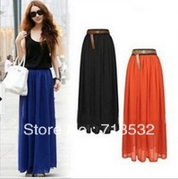 Hot Sale New 2013 10 Colours Ladies Chiffon Pleated Long Retro Maxi Skirt Elastic Waist Skirt Free Shipping HH0103