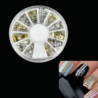 120Pcs Fashion Gold Silver Metal Nail Art Decoration Rhinestone Tips Metallic Studs 10912