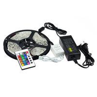 RGB Led Strip Waterproof 5M SMD 5050 300 LEDs/Roll +24 keys IR Remote+12V 5A Power Adapter Free Shipping