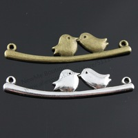 10pcs/lot 41*11mm 2 Colors Antique Silver, Antique Bronze Plated one side 2 Birds on Branch Charms Pendant