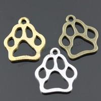 50pcs/lot 19*17mm Antique silver, Antique Bronze, Antique Gold Plated Dog Paw Charms