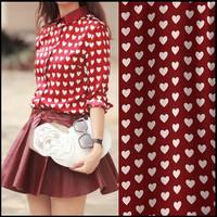 HOT! Contrast Collar White Heart Print Burgundy Blouse /Shirt