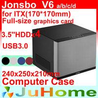 HTPC Mini case, USB3.0, PCI Slot computer case, Home Theater Multimedia Computer Chassis, Jonsbo V6, Other V4 V2 V3+ U1 U2 U3