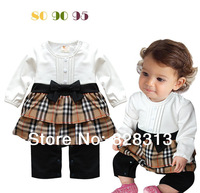 Newborn Kids Toddlers Infant Baby Girl Plaids Cotton Romper infant Jumpsuit Bowknot Dress Outfit Clothes Costume White Coffee