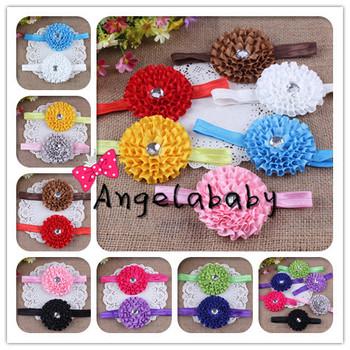 "Satin Ribbon Fold Flower Headband With Rhinestone Center DIY 3"" Flowers Hairband 24pcs/lot Free Shipping"