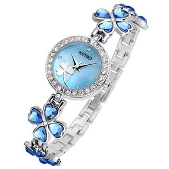 2013 New Women's Green Pink Brand watches Leaf Clover Purple wrist watch Lady Fashion,bling crystal gift (Assorted Colors) #EKM1