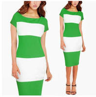 Free shiiping, new fashion Women Celeb Style Pinup Bodycon Colorblock Business Party Pencil Dress